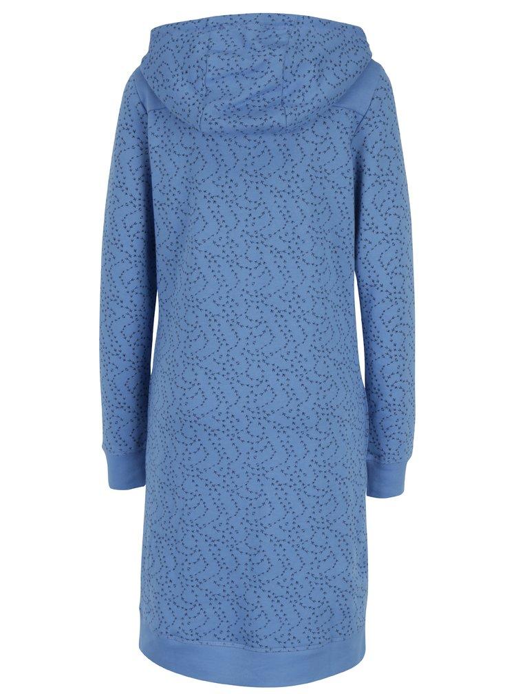 Modré mikinové vzorované šaty s knoflíky a kapucí Tranquillo Naia