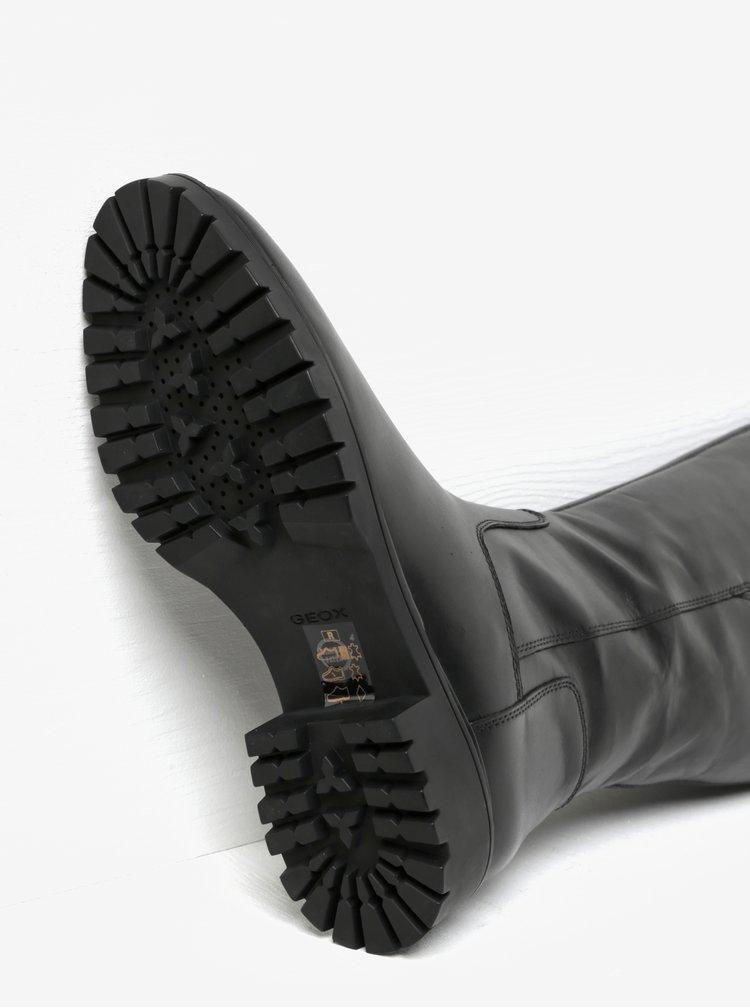 Černé zateplené kožené kozačky s gumovou vsadkou Geox Peaceful