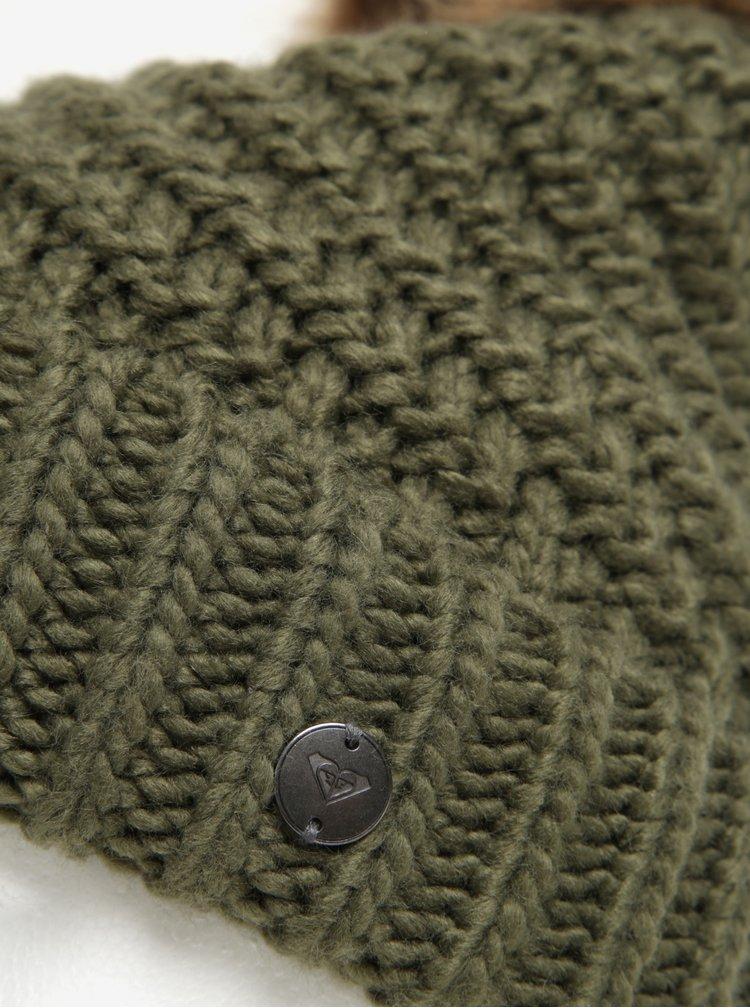 Zelená dámská pletená čepice s bambulí Roxy Blizzard