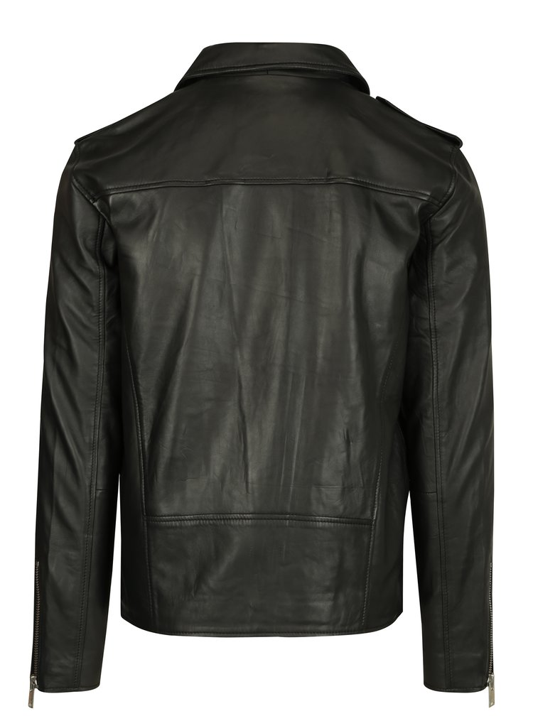 Geaca biker neagra din piele Selected Homme Clean