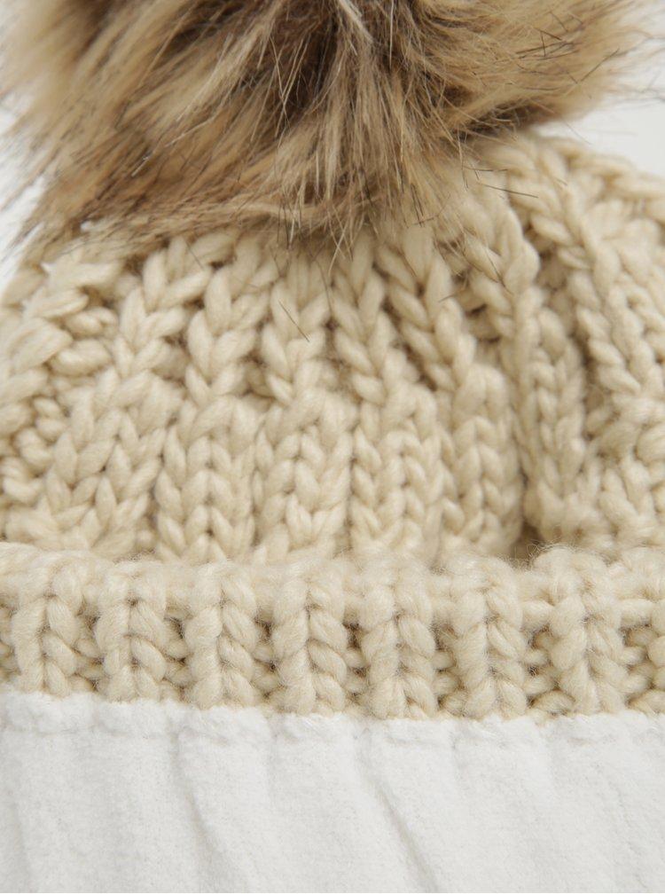 Béžová dámská pletená čepice s bambulí Roxy Blizzard