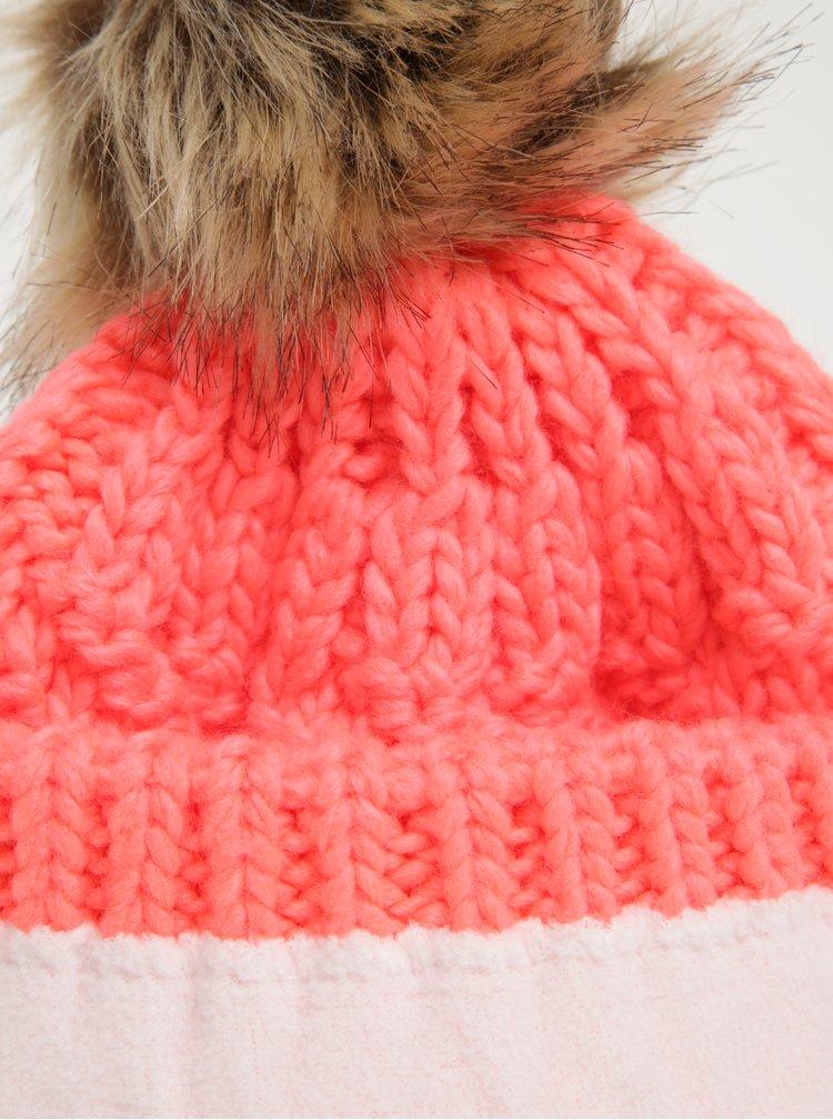 Neonově růžová dámská pletená čepice s bambulí Roxy Blizzard