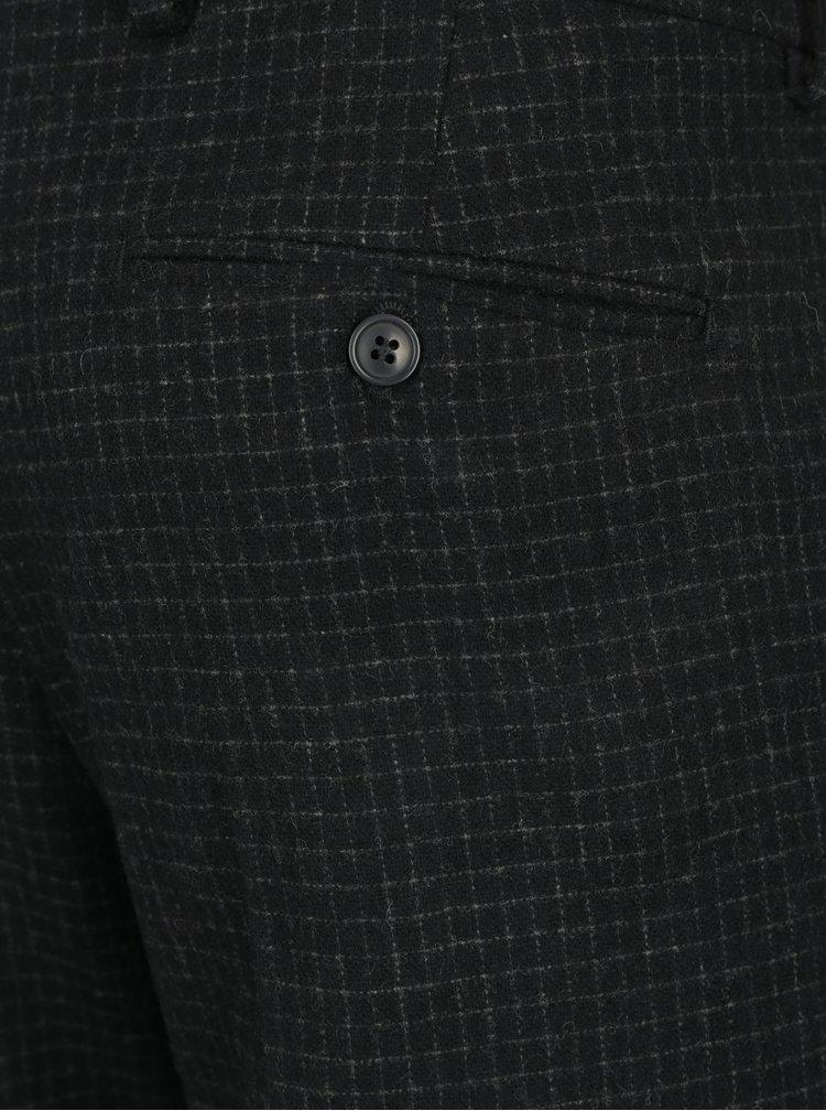 Tmavě modré vlněné oblekové kalhoty Selected Homme One-Mylo