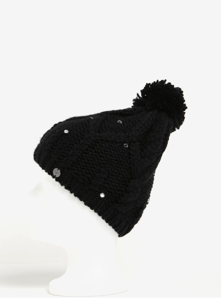 Caciula neagra cu pompon si pietre decorative - Roxy Shoot Star