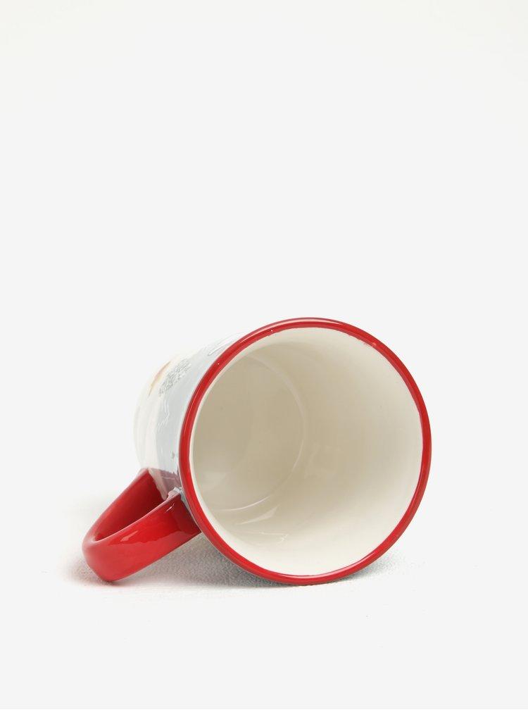 Cana mare rosu & alb din ceramica cu print de sarbatori Dakls
