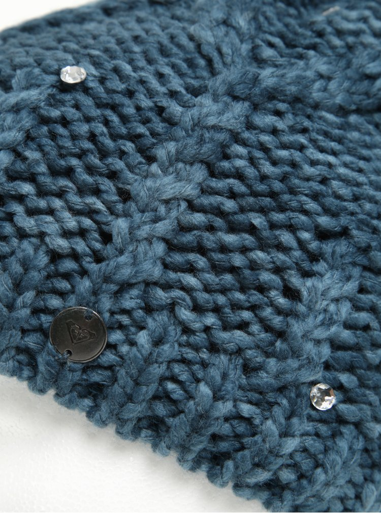 Caciula tricotata albastru petrol cu pompom si pietre decorative - Roxy Shoot Star