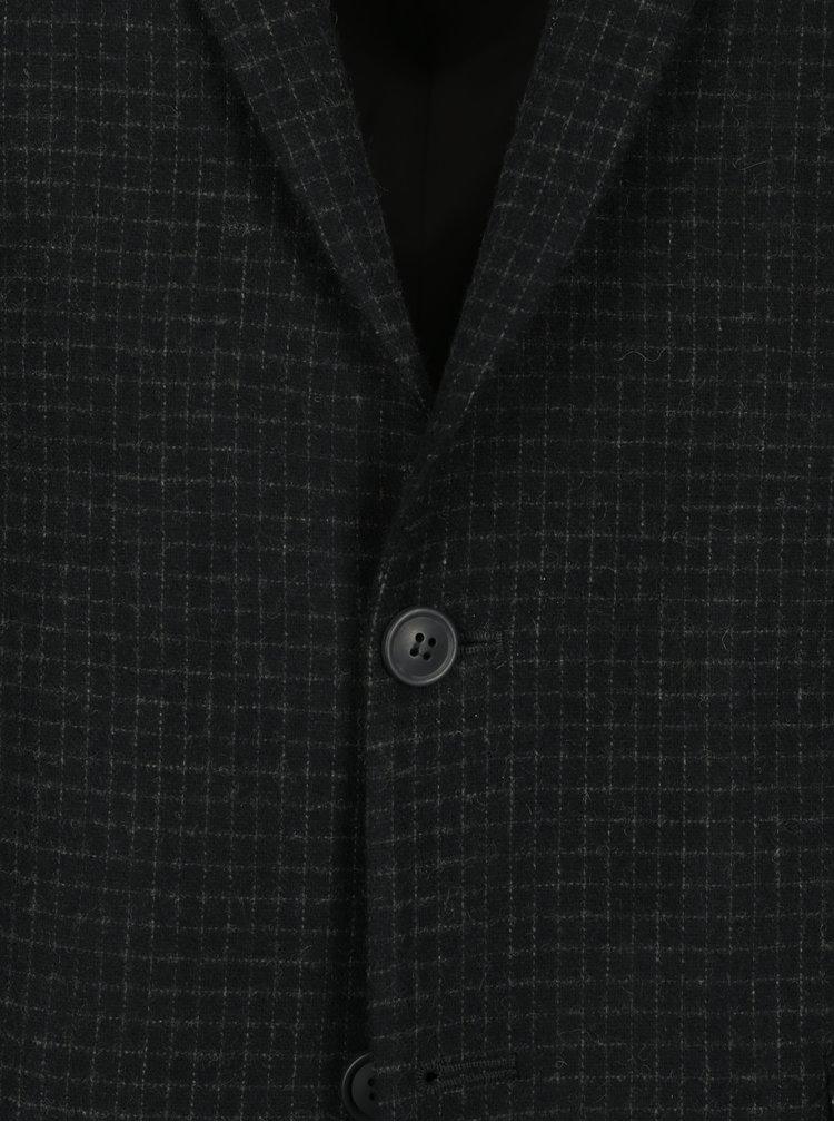 Sacou albastru inchis cu carouri din amestec de lana Selected Homme One-Mylo