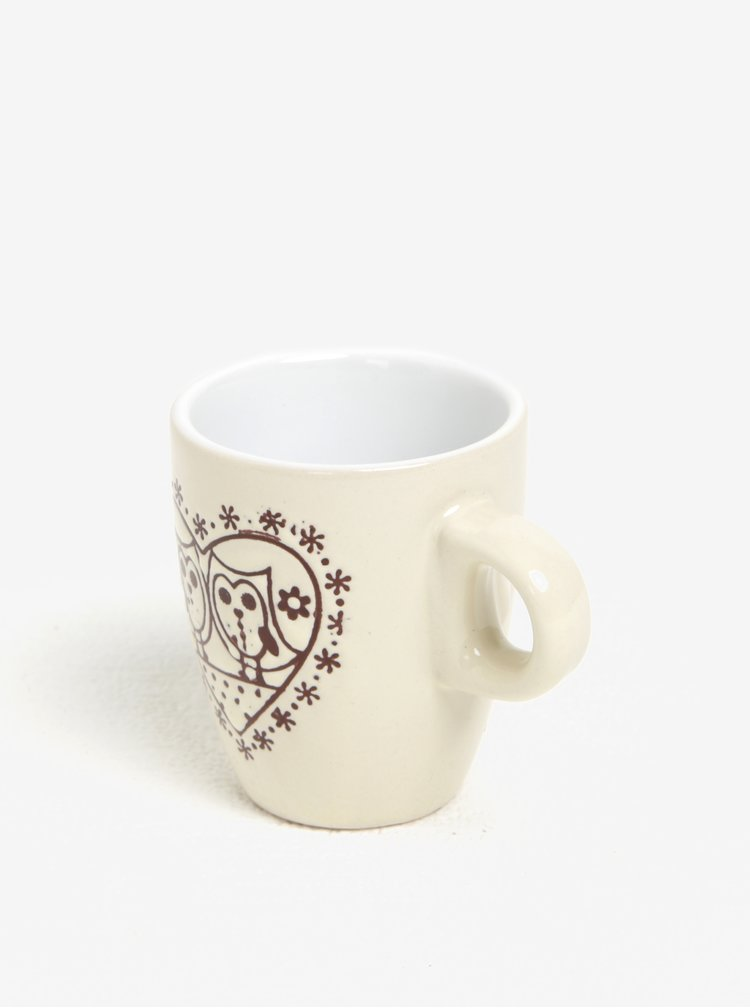Krémový keramický hrnek s motivem sov Dakls