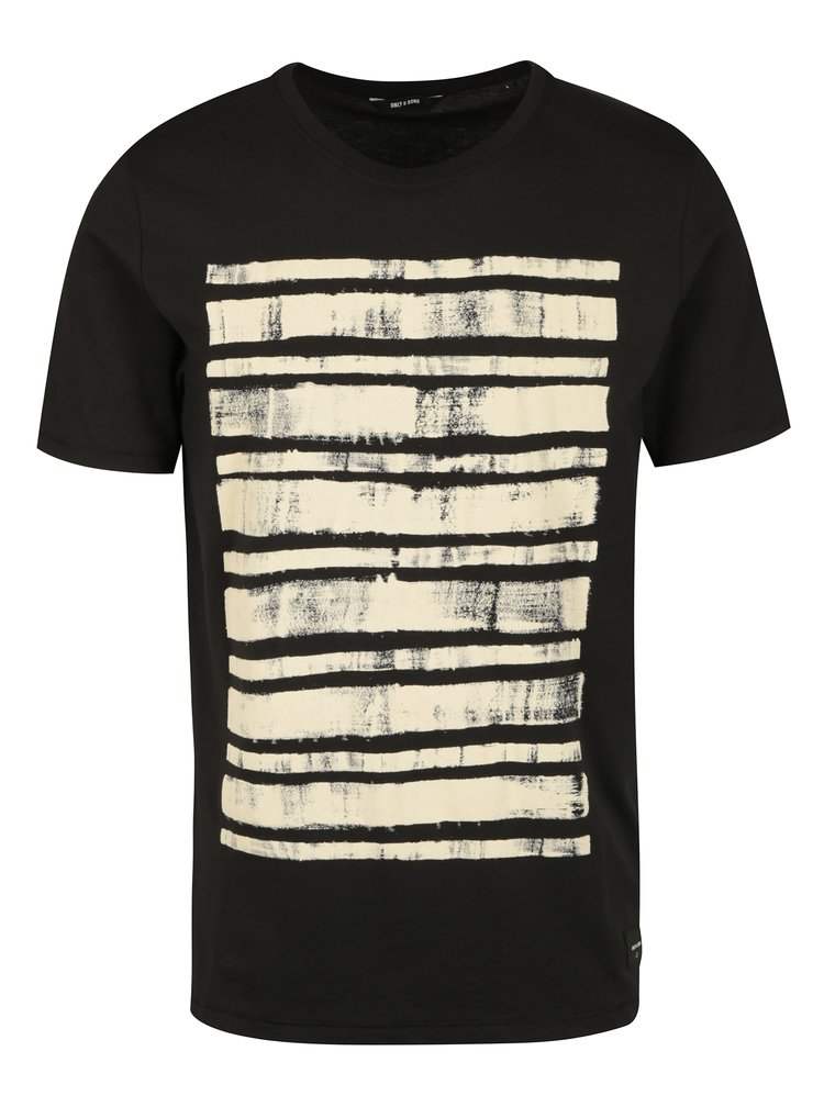 Tricou negru cu print frontal ONLY & SONS Hagret