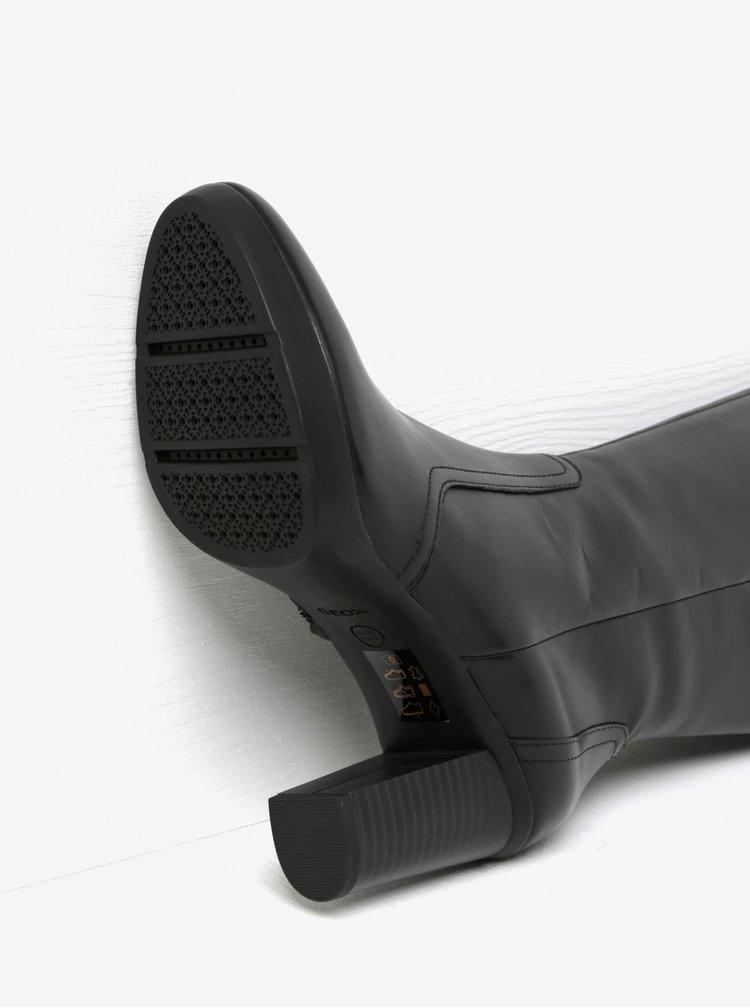 Černé kožené kozačky s přezkou na podpatku Geox Inspirat