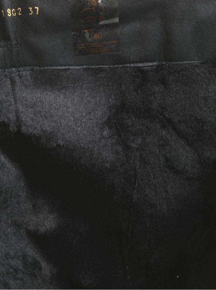 Černé kožené kozačky s gumovou vsadkou Geox New Lise