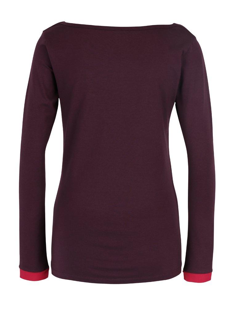 Tmavě fialové tričko s řasením v dekoltu Tranquillo Golda