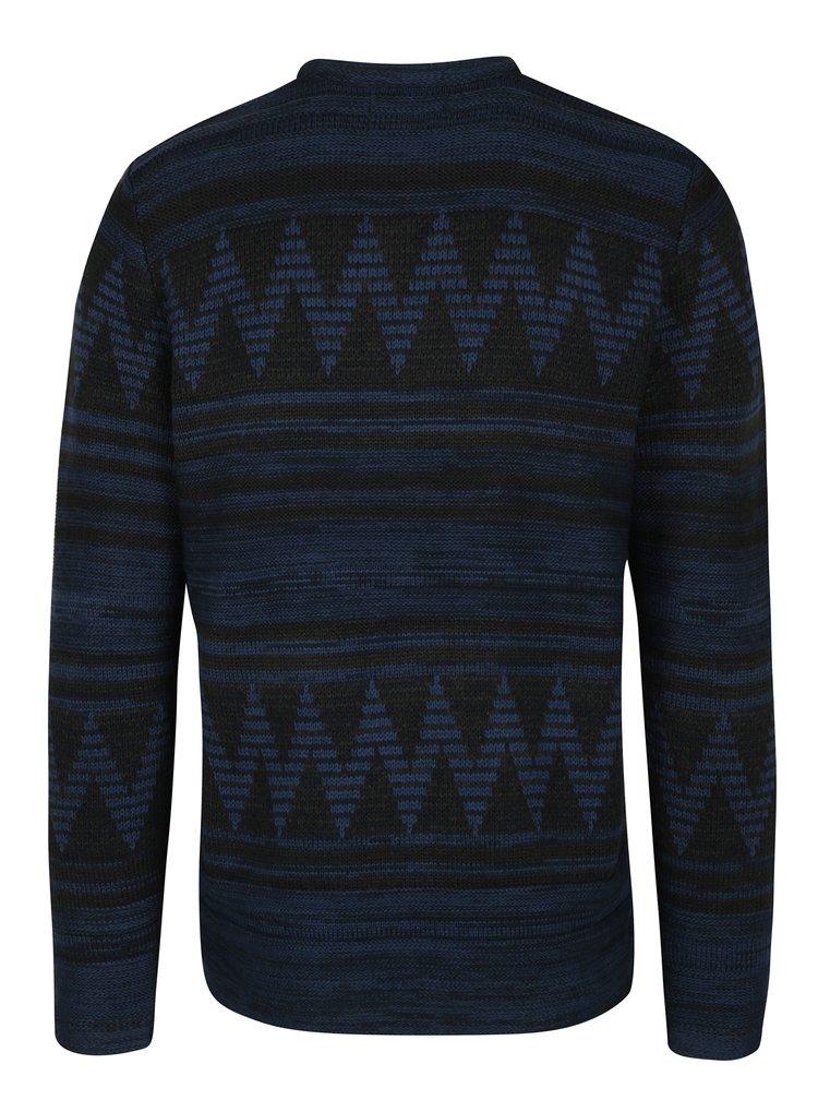 Černo-modrý vzorovaný svetr ONLY & SONS Dudley