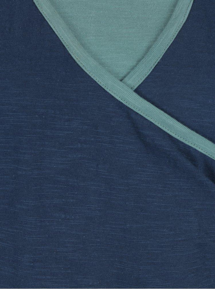 Petrolejové šaty s překládaným výstřihem Tranquillo Vivi
