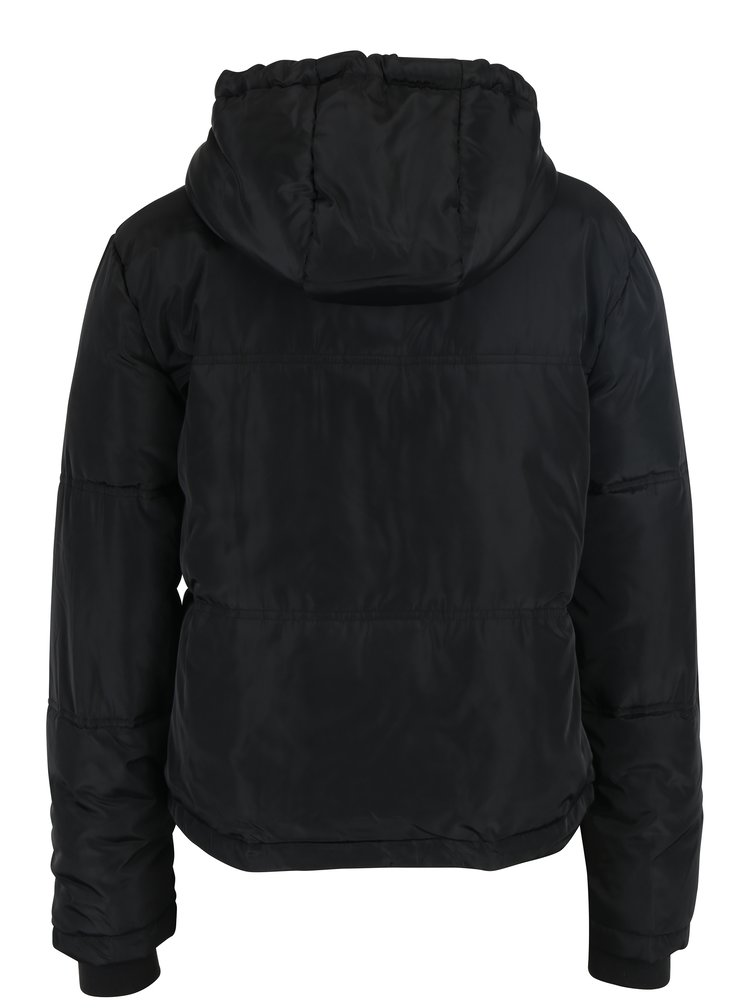 Černá prošívaná bunda s kapucí Jacqueline de Yong Sola