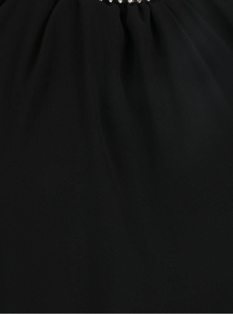 Bluza neagra cu guler decorat cu strasuri Haily´s Lucille