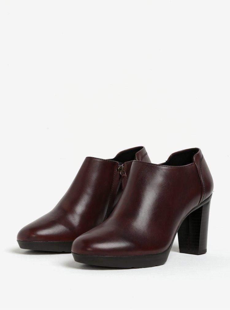 Tmavě hnědé kožené boty na podpatku Geox Inspirat