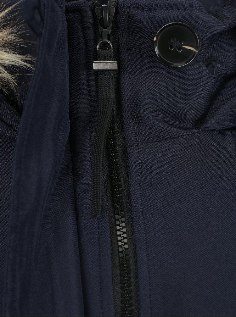 Tmavě modrá zimní parka s umělou kožešinou VERO MODA Excursion