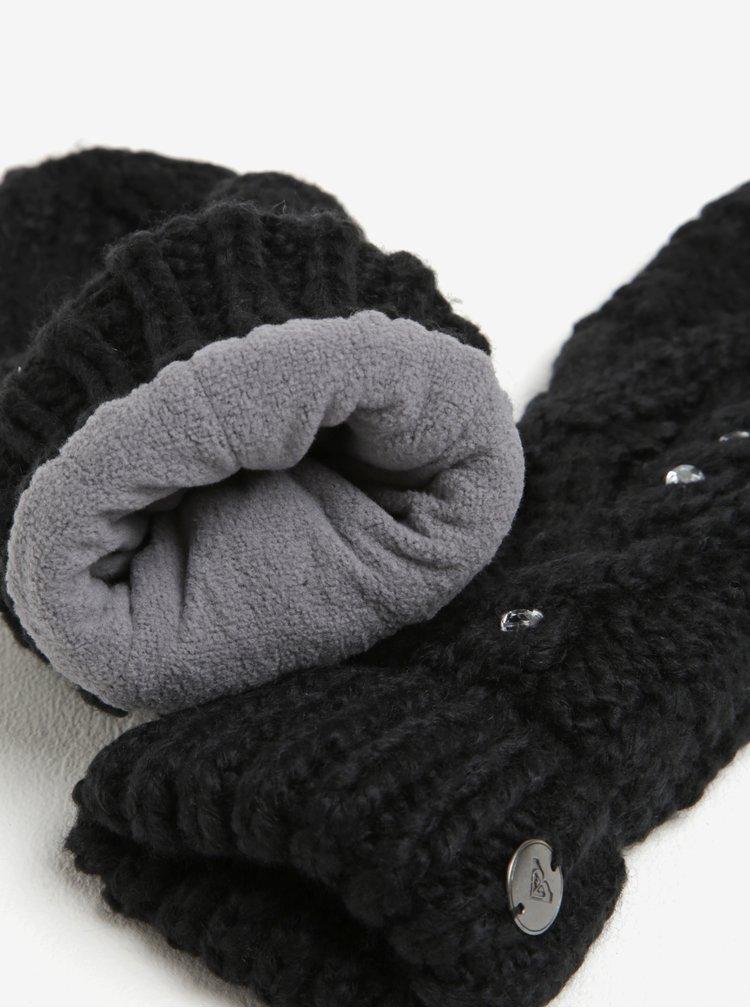 Manusi negre tricotate cu pietre decorative -  Roxy Shooting Star