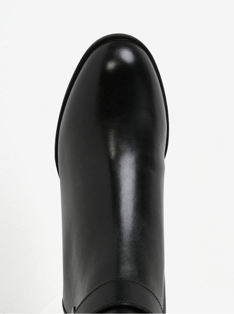 Botine negre din piele cu catarama pentru femei Geox Glynna