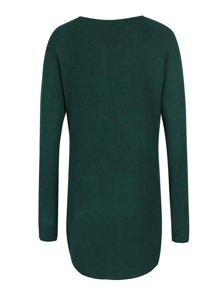 Zelený dlouhý svetr s prodlouženým zadním dílem ONLY Mila
