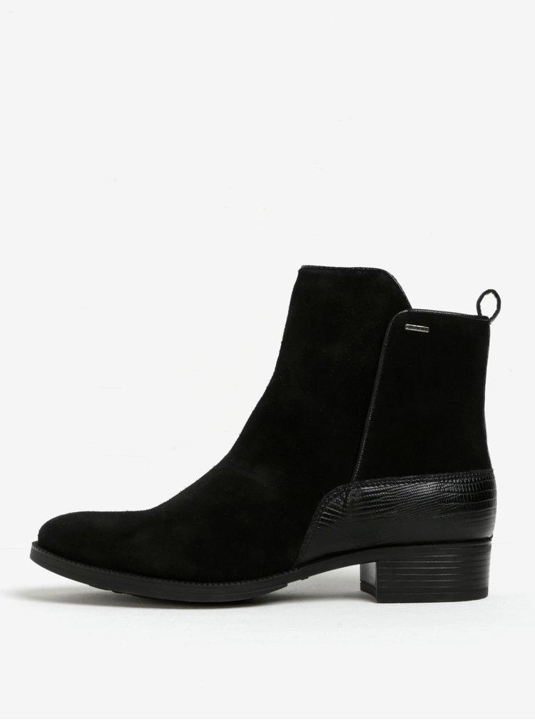 Černé dámské semišové voděodpudivé kotníkové boty Geox Mendi ABX