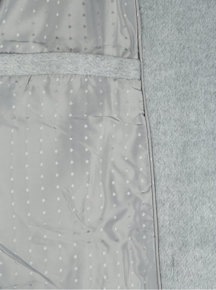 Světle šedý kabát s vysokým límcem a příměsí vlny VILA Dahlia