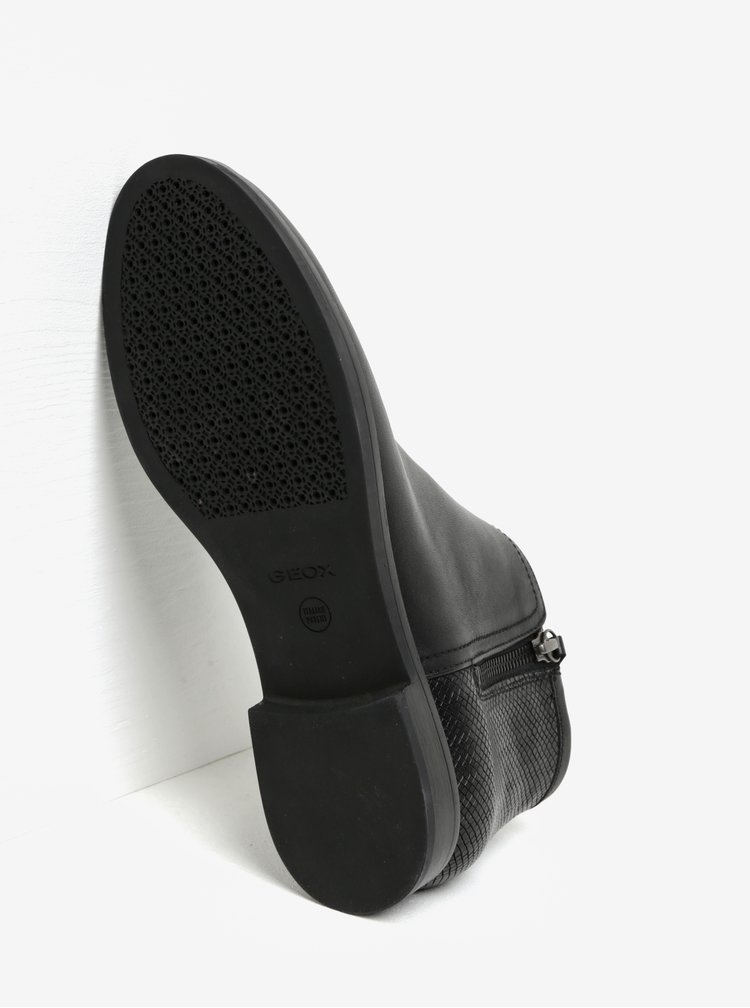 Černé dámské kožené kotníkové boty Geox Promethea