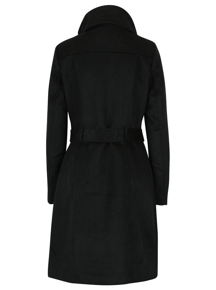 Palton negru cu guler inalt si cordon in talie VILA Dahlia