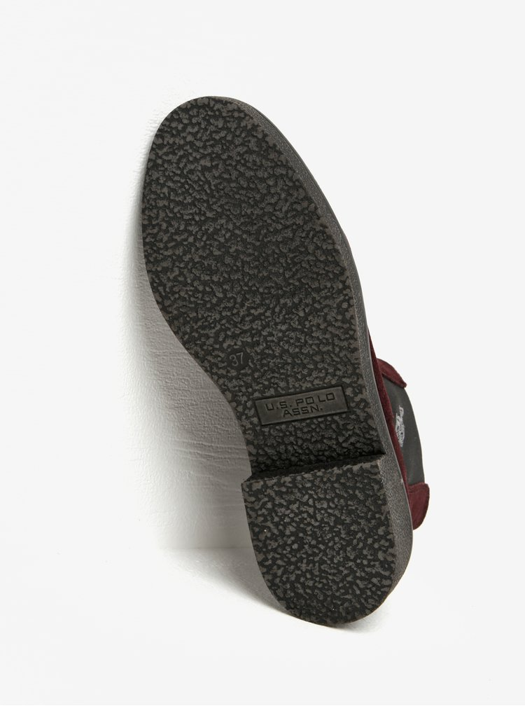 Vínové semišové chelsea boty U.S. Polo Assn.