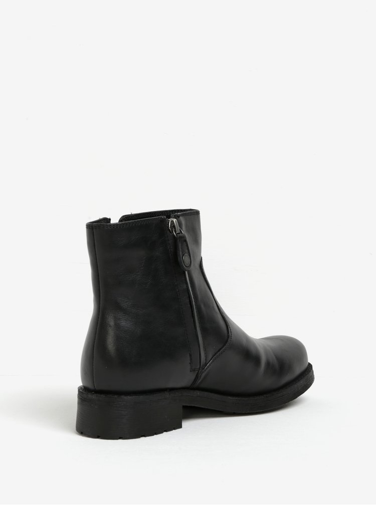 Černé dámské kožené kotníkové boty Geox New Virna