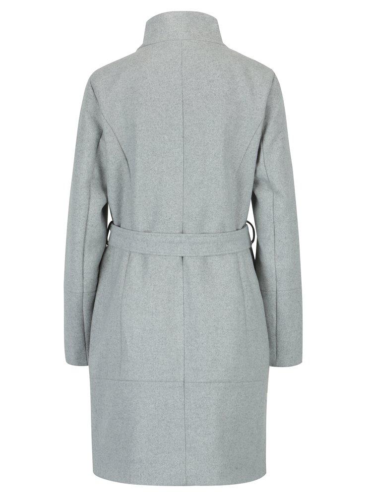 Světle šedý žíhaný vlněný kabát VILA Bee