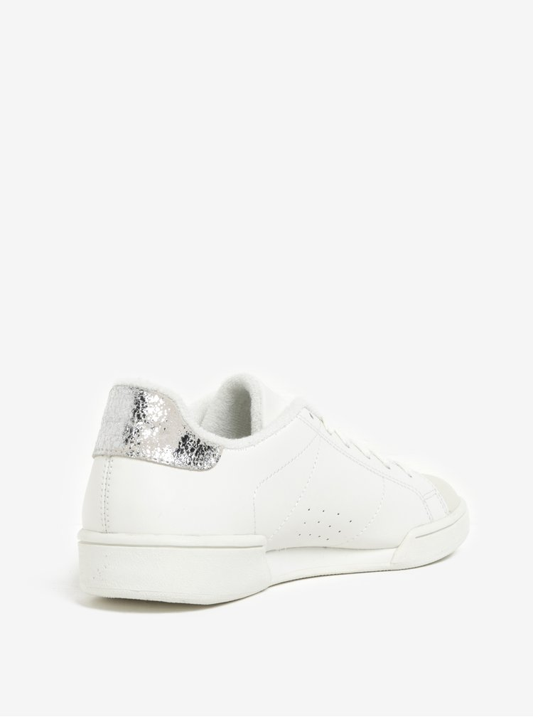 Pantofi sport crem din piele naturala cu detalii argintii pentru femei - Reebok