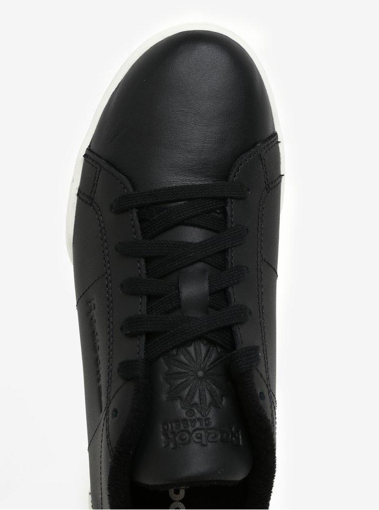 Černé dámské kožené tenisky s detaily ve stříbrné barvě Reebok
