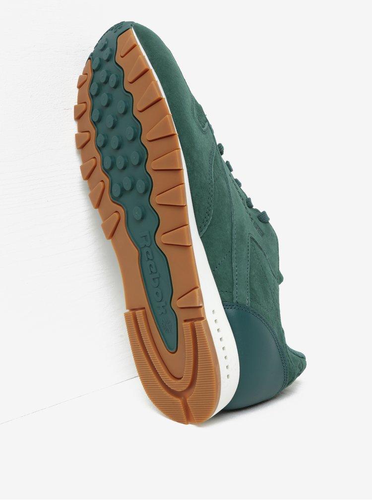 Tmavě zelené pánské semišové tenisky s koženými detaily Reebok SG