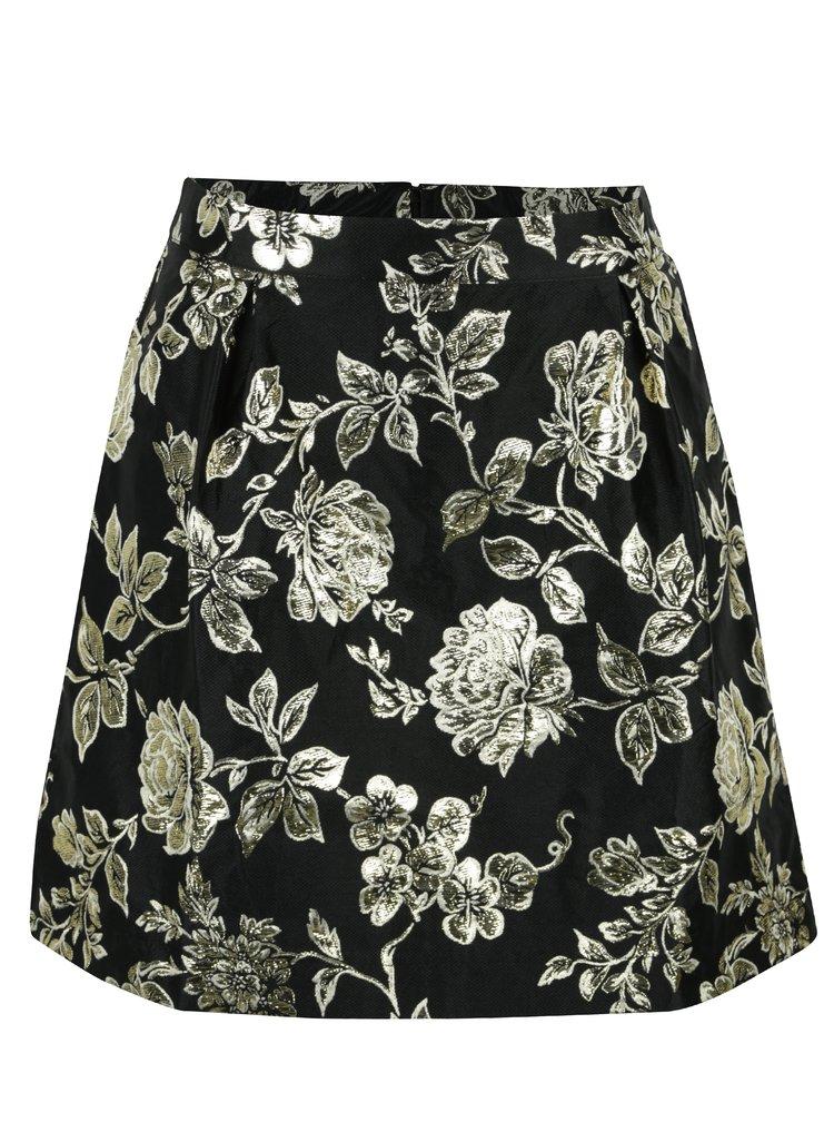 Černá áčková květovaná sukně VILA Anna