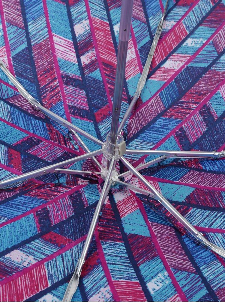 Modro-fialový dámský vzorovaný skládací deštník RAINY SEASONS Flat Prints