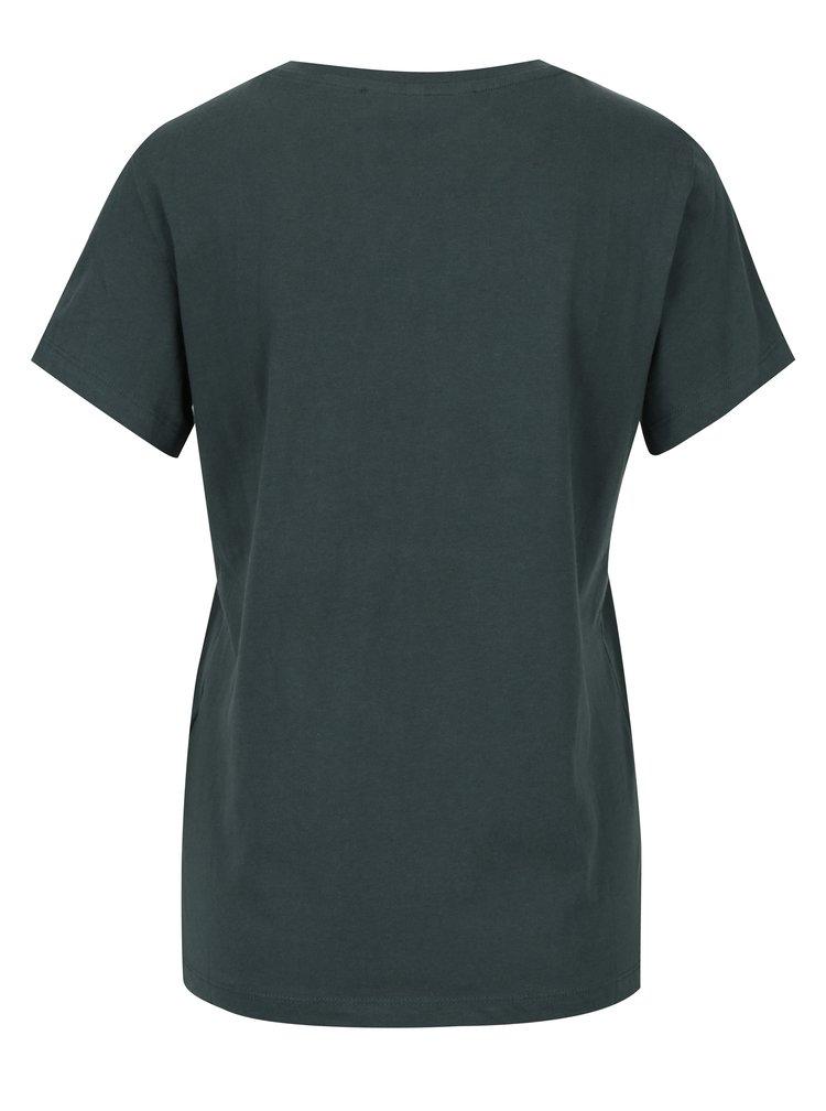 Tmavě zelené tričko s výšivkou VERO MODA Clara