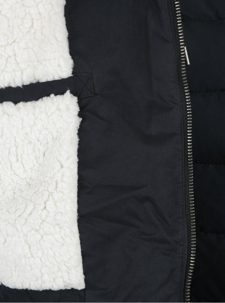 Geaca matlasata bleumarin cu gluga si interior imblanit - Roxy Glassy