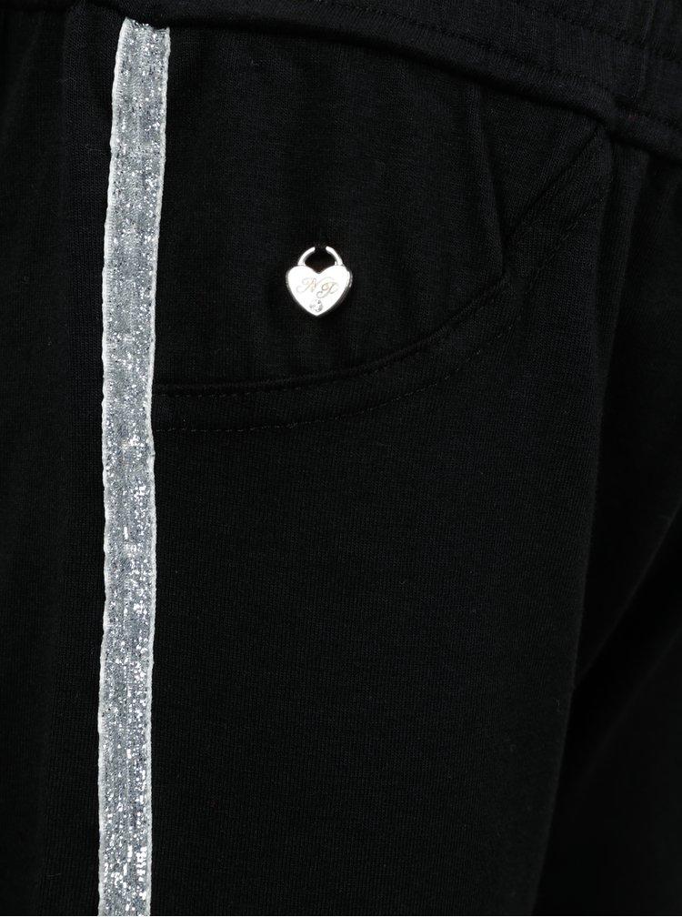 Černé holčičí tepláky s detaily ve stříbrné barvě North Pole Kids