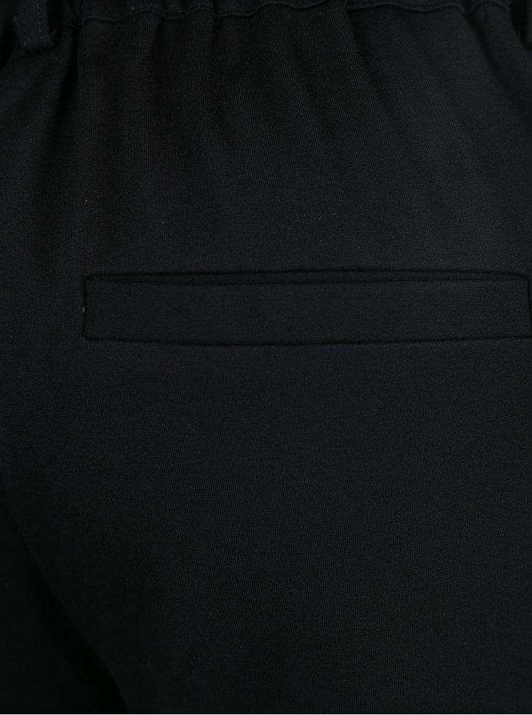 Pantaloni negri cu talie elastica si catifea pe laterale ONLY Poptrash