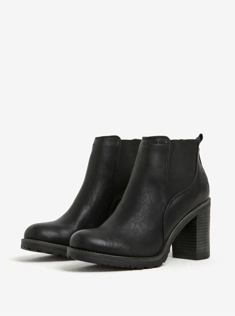 Černé kotníkové boty na podpatku U.S. Polo Assn.