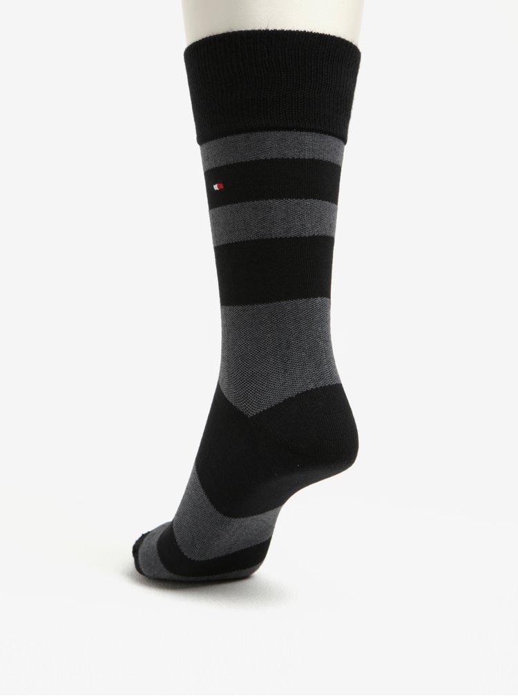 Dárková sada pěti párů pánských ponožek v černé a šedé barvě Tommy Hilfiger
