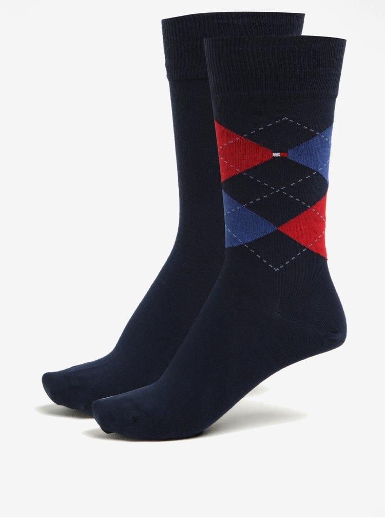Súprava dvoch párov pánskych vzorovaných ponožiek v tmavomodrej farbe Tommy Hilfiger