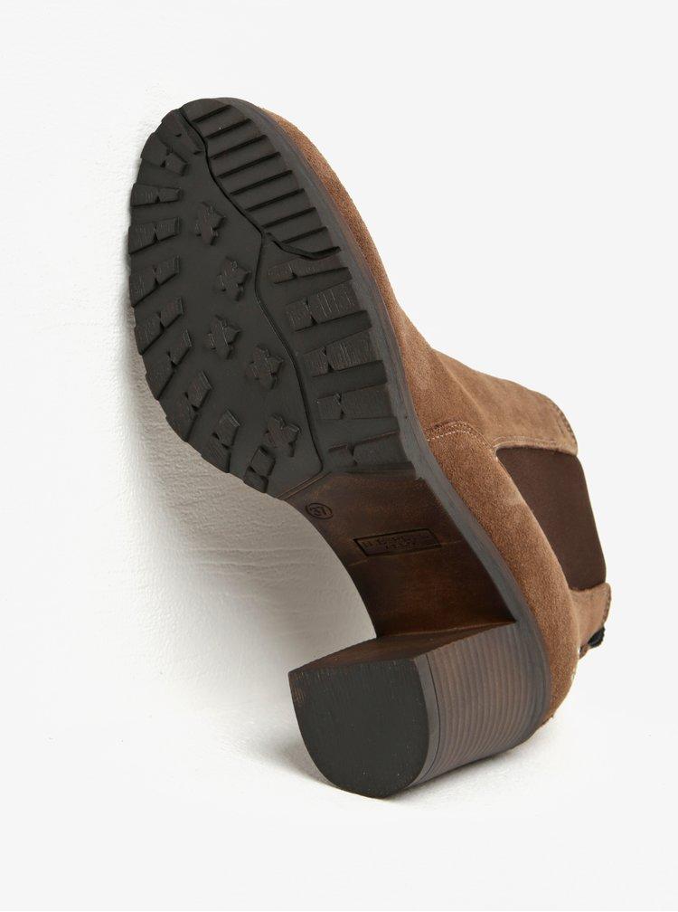 Hnědé kotníkové semišové boty na podpatku U.S. Polo Assn.