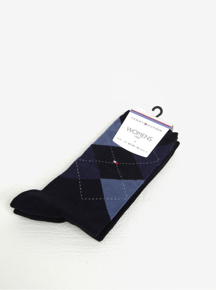 Sada dvou párů dámských vzorovaných ponožek v modré barvě Tommy Hilfiger