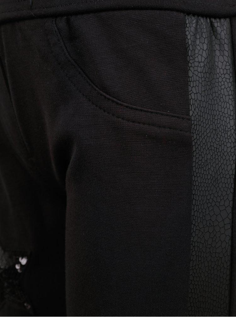 Černé holčičí tepláky s koženkovými detaily North Pole Kids
