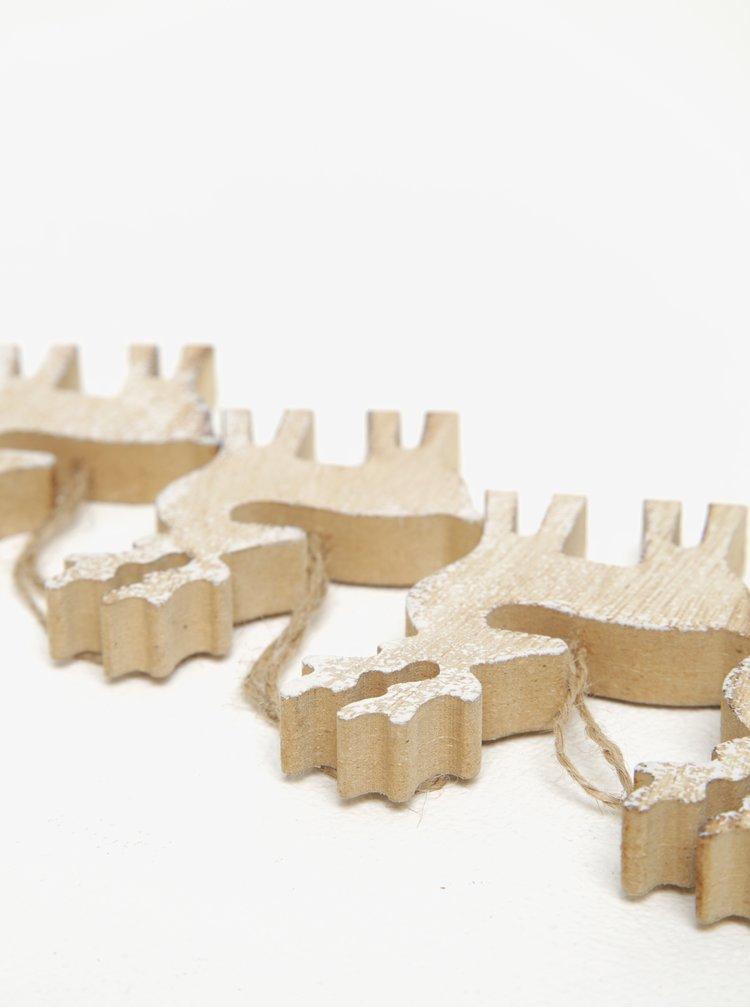 Sada čtyř kusů dřevěné závěsné dekorace ve tvaru soba v béžové barvě Dakls