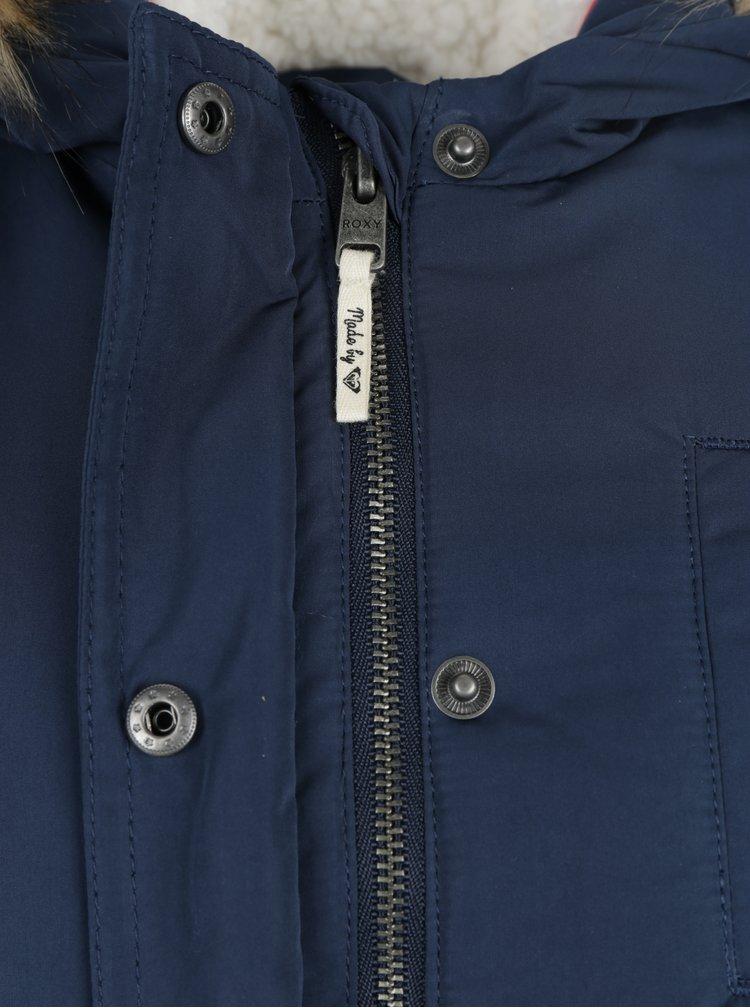 Tmavě modrá holčičí bunda s umělým kožíškem Roxy Siging Birds