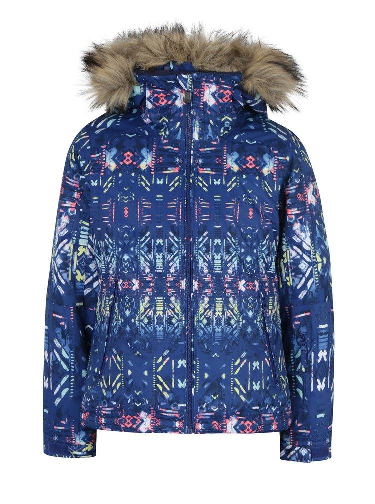 Modrá holčičí funkční vzorovaná bunda s kožíškem Roxy Jet Ski Girl